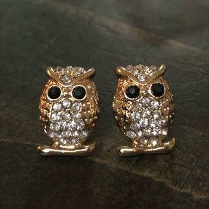 Gold Tone Clear Crystal Owl Bird Stud Earrings